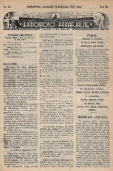 """Wiadomości Parafjalne : dodatek do tygodników """"Niedziela"""" i""""Przewodnika Katolickiego"""". 1935, nr47"""