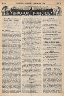 """Wiadomości Parafjalne : dodatek do tygodników """"Niedziela"""" i""""Przewodnika Katolickiego"""". 1935, nr48"""