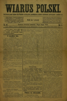 Wiarus Polski : codzienne pismo ludowe dla Polaków na obczyźnie, poświęcone sprawom narodowym, politycznym i zarobkowym. R.13, nr 40 (19 lutego 1903)