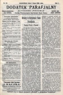 """Dodatek Parafjalny do tygodnika """"Niedziela"""" Parafji Wniebowzięcia Najświętszej Marji Panny. 1934, nr22"""