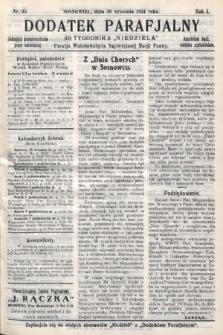 """Dodatek Parafjalny do tygodnika """"Niedziela"""" Parafji Wniebowzięcia Najświętszej Marji Panny. 1934, nr35"""