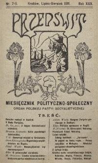 Przedświt : miesięcznik polityczno-społeczny : organ Polskiej Partyi Socyalistycznej. R. 30, 1911, nr7-8