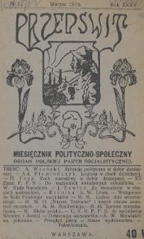 Przedświt : miesięcznik polityczno-społeczny : organ Polskiej Partji Socjalistycznej. R. 35, 1916, nr1
