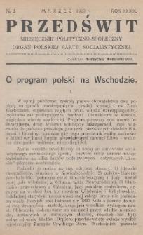 Przedświt : miesięcznik polityczno-społeczny : organ Polskiej Partji Socjalistycznej. R. 39, 1920, nr3