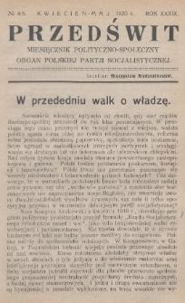 Przedświt : miesięcznik polityczno-społeczny : organ Polskiej Partji Socjalistycznej. R. 39, 1920, nr4-5