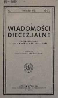 Wiadomości Diecezjalne : organ urzędowy Częstochowskiej Kurii Diecezjalnej. 1946, nr4