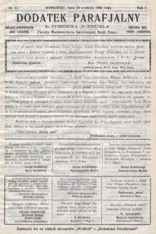 """Dodatek Parafjalny do tygodnika """"Niedziela"""" Parafji Wniebowzięcia Najświętszej Marji Panny. 1934, nr47"""