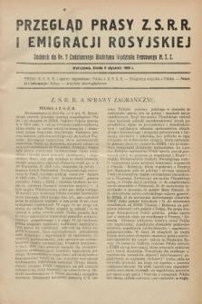 Przegląd Prasy Z.S.R.R. i Emigracji Rosyjskiej : dodatek do nr 7 Codziennego Biuletynu Wydziału Prasowego M.S.Z. (9 stycznia 1929)