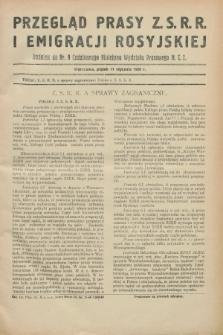 Przegląd Prasy Z.S.R.R. i Emigracji Rosyjskiej : dodatek do nr 9 Codziennego Biuletynu Wydziału Prasowego M.S.Z. (11 stycznia 1929)