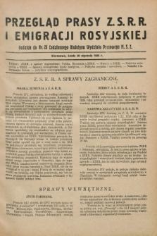 Przegląd Prasy Z.S.R.R. i Emigracji Rosyjskiej : dodatek do nr 25 Codziennego Biuletynu Wydziału Prasowego M.S.Z. (30 stycznia 1929)