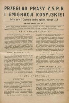 Przegląd Prasy Z.S.R.R. i Emigracji Rosyjskiej : dodatek do nr 32 Codziennego Biuletynu Wydziału Prasowego M.S.Z. (8 lutego 1929)