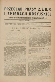 Przegląd Prasy Z.S.R.R. i Emigracji Rosyjskiej : dodatek do nr 128 Codziennego Biuletynu Wydziału Prasowego M.S.Z. (7 czerwca 1929)