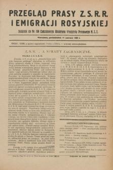 Przegląd Prasy Z.S.R.R. i Emigracji Rosyjskiej : dodatek do nr 136 Codziennego Biuletynu Wydziału Prasowego M.S.Z. (17 czerwca 1929)