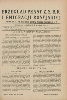 Przegląd Prasy Z.S.R.R. i Emigracji Rosyjskiej : dodatek do nr 200 Codziennego Biuletynu Wydziału Prasowego M.S.Z. (2 września 1929)