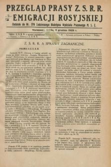 Przegląd Prasy Z.S.R.R. i Emigracji Rosyjskiej : dodatek do nr 278 Codziennego Biuletynu Wydziału Prasowego M.S.Z. (4 grudnia 1929)