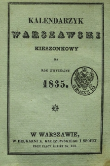 Kalendarzyk Warszawski Kieszonkowy na Rok Zwyczajny 1835
