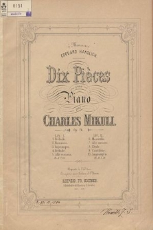 Dix Pièces : pour piano : op. 24. Liv. 2
