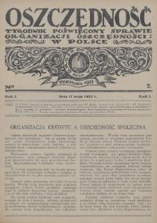 Oszczędność : tygodnik poświęcony sprawie organizacji oszczędności w Polsce. 1925, nr2
