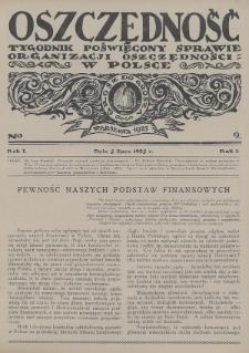 Oszczędność : tygodnik poświęcony sprawie organizacji oszczędności w Polsce. 1925, nr9