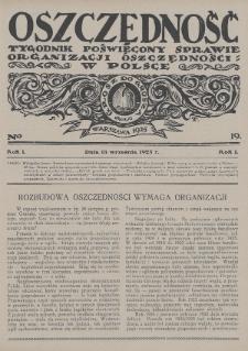 Oszczędność : tygodnik poświęcony sprawie organizacji oszczędności w Polsce. 1925, nr19