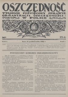 Oszczędność : tygodnik poświęcony sprawie organizacji oszczędności w Polsce. 1925, nr23-24