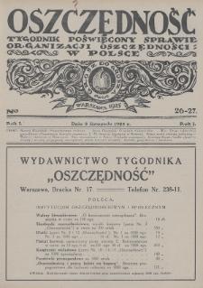 Oszczędność : tygodnik poświęcony sprawie organizacji oszczędności w Polsce. 1925, nr26-27