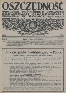 Oszczędność : tygodnik poświęcony sprawie organizacji oszczędności w Polsce. 1925, nr30