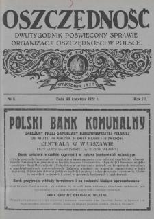 Oszczędność : dwutygodnik poświęcony sprawie organizacji oszczędności w Polsce. 1927, nr8