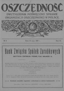 Oszczędność : dwutygodnik poświęcony sprawie organizacji oszczędności w Polsce. 1927, nr9
