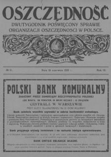 Oszczędność : dwutygodnik poświęcony sprawie organizacji oszczędności w Polsce. 1927, nr11