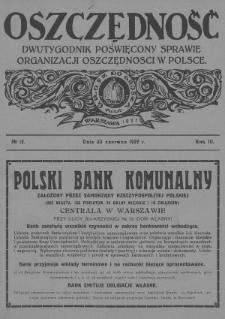 Oszczędność : dwutygodnik poświęcony sprawie organizacji oszczędności w Polsce. 1927, nr12