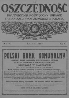 Oszczędność : dwutygodnik poświęcony sprawie organizacji oszczędności w Polsce. 1927, nr13-14