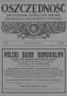 Oszczędność : dwutygodnik poświęcony sprawie organizacji oszczędności w Polsce. 1927, nr15