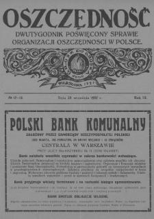 Oszczędność : dwutygodnik poświęcony sprawie organizacji oszczędności w Polsce. 1927, nr17-18