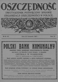Oszczędność : dwutygodnik poświęcony sprawie organizacji oszczędności w Polsce. 1927, nr21-22