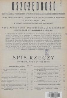 Oszczędność : dwutygodnik poświęcony sprawie organizacji oszczędności w Polsce : organ Związku Miejskich i Powiatowych Kas Oszczędności w Warszawie. 1933, Spis rzeczy