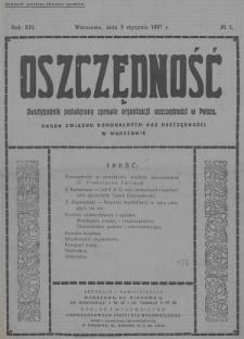 Oszczędność : dwutygodnik poświęcony sprawie organizacji oszczędności w Polsce : organ Związku Komunalnych Kas Oszczędności w Warszawie. 1937, nr1