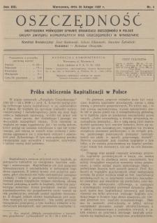 Oszczędność : dwutygodnik poświęcony sprawie organizacji oszczędności w Polsce : organ Związku Komunalnych Kas Oszczędności w Warszawie. 1937, nr4