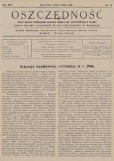 Oszczędność : dwutygodnik poświęcony sprawie organizacji oszczędności w Polsce : organ Związku Komunalnych Kas Oszczędności w Warszawie. 1937, nr13