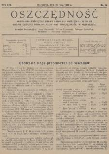 Oszczędność : dwutygodnik poświęcony sprawie organizacji oszczędności w Polsce : organ Związku Komunalnych Kas Oszczędności w Warszawie. 1937, nr14