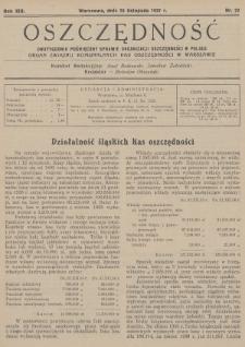 Oszczędność : dwutygodnik poświęcony sprawie organizacji oszczędności w Polsce : organ Związku Komunalnych Kas Oszczędności w Warszawie. 1937, nr22