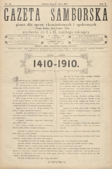 Gazeta Samborska : pismo poświęcone sprawom ekonomicznym i społecznym okręgu: Sambor, Stary Sambor, Turka. 1910, nr14