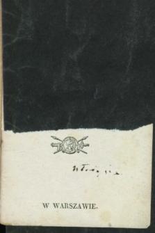 Kalendarzyk Kieszonkowy na Rok 1836