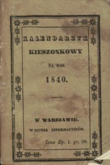 Kalendarzyk Kieszonkowy na Rok 1840