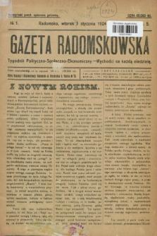 Gazeta Radomskowska : tygodnik polityczno-społeczno-ekonomiczny. R.5, № 1 (1 stycznia 1924)