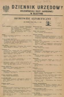 Dziennik Urzędowy Wojewódzkiej Rady Narodowej w Olsztynie. 1954, Skorowidz alfabetyczny