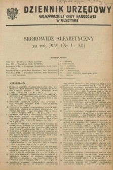 Dziennik Urzędowy Wojewódzkiej Rady Narodowej w Olsztynie. 1959, Skorowidz alfabetyczny
