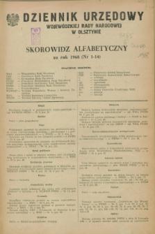 Dziennik Urzędowy Wojewódzkiej Rady Narodowej w Olsztynie. 1968, Skorowidz alfabetyczny