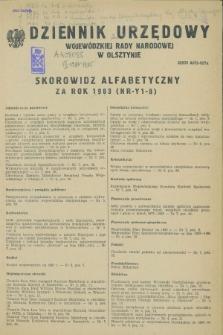 Dziennik Urzędowy Wojewódzkiej Rady Narodowej w Olsztynie. 1983, Skorowidz alfabetyczny