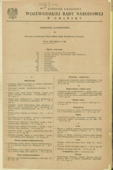 Dziennik Urzędowy Wojewódzkiej Rady Narodowej w Gdańsku. 1954, Skorowidz alfabetyczny